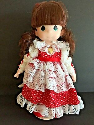 "Precious Moments Doll Rachel 16"" Red & White Dress Pantelettes Sweetheart Series"