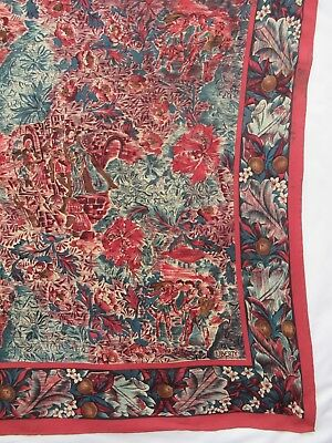 Large LIBERTY of LONDON Medieval Figures & Foliage silk crepe scarf 86 x 90  cm