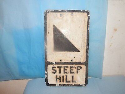 Vintage Cast Alloy Steep Hill Road Sign Plaque.Branco.