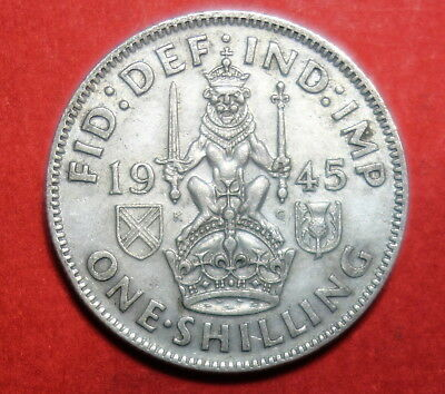 Great Britain : Shilling 1945  . 0.500 Silver