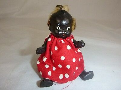 Vtg Black Americana Bisque Baby Doll Jointed Arms Legs Japan Red White Dress
