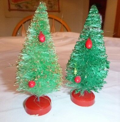 "Pr Vtg mid Century Bottle Brush Christmas Trees Ornaments 5"" height"
