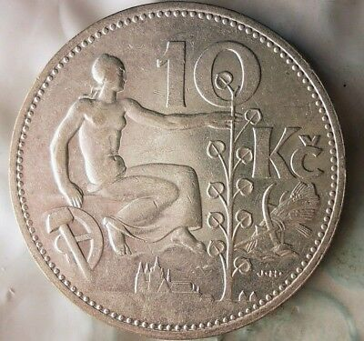 1932 CZECHOSLOVAKIA 10 KORUN - AU/UNC - Uncommon Silver Crown Coin - Lot #917