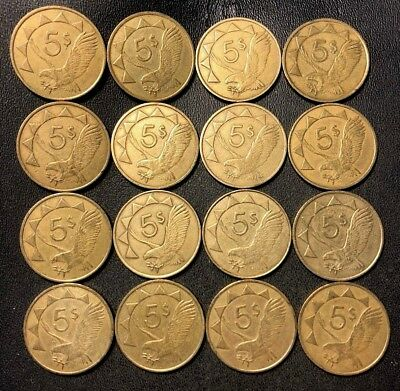 Old NAMIBIA Coin Lot - 16 Great Scarce Coins - 5 Dollar Coins - Lot #917