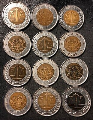 Old GHANA Coin Lot - Exotic VERY Hard to Find - 12 BI-METAL Coins - Lot #917
