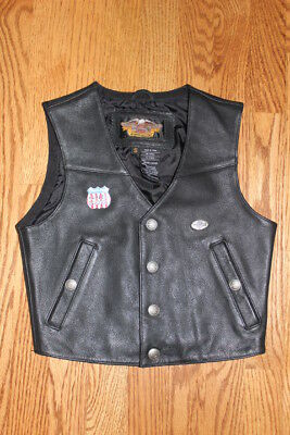 Harley Davidson Boys Small Black Lined 100%leather Motorcycle Vest W/ Harley Pin