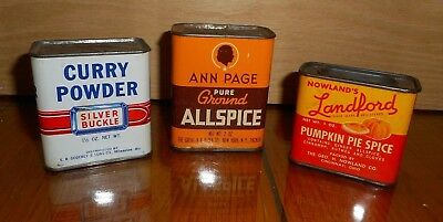 #24 OLD Advertising Spice Tins Graphics Ann Page LANDFORD Silver Buckle 3 TINS