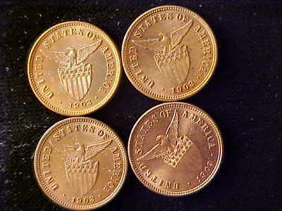 Philippines ½ Centavo 1903 Lot Of 4 Coins, All  Bu, Some Red, Some Red & Brown