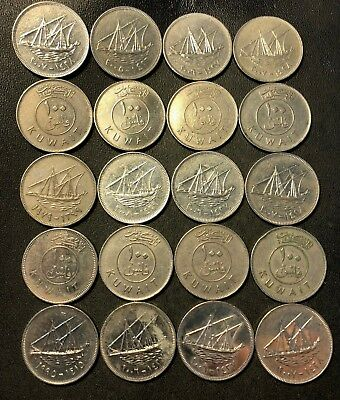 Old Kuwait Coin Lot - 100 FILS - 20 HARD TO FIND High Value Coins - Lot #917