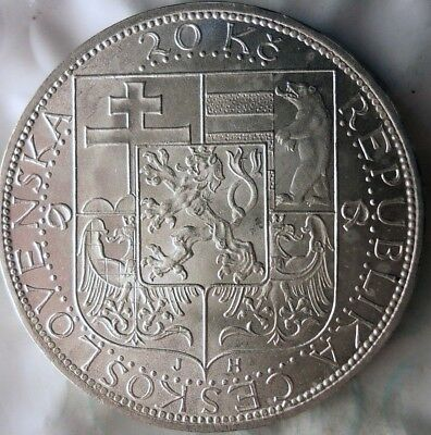 1937 CZECHOSLOVAKIA 20 KORUN - AU/UNC - Uncommon Silver Crown Coin - Lot #917