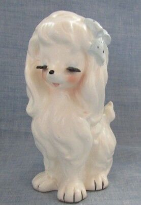 Vintage Porcelain White Poodle With Eye Lashes And Blue Hair Bow.planter