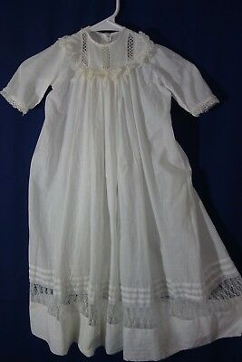 """Victorian Christening Gown-Cobwebby Lace/Tucking- Chest 28"""",Length 31""""- LOVELY"""