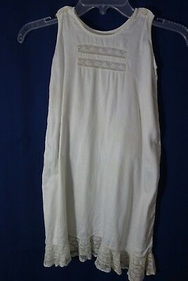 "Victorian Girls' White Slip w/Lace Ruffle- Chest 24"",Lenght 27""- LOVELY"