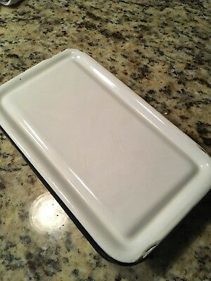 Vintage Enamelware Box With Lid Rectangle White/Black