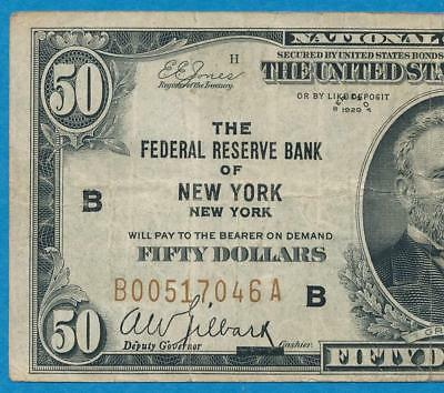 $50. 1929 New York  Brown Seal Federal Reserve Bank Note Circulated