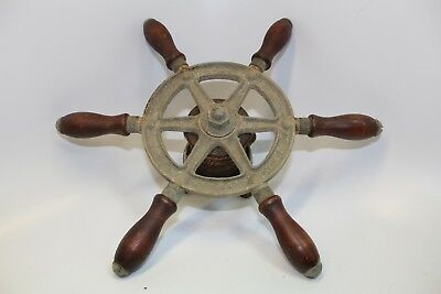 Small Antique Ship Wheel  Wood Handle Salvage Boat  Decor Ocean
