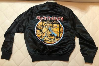 1a51a30af9fa8 VINTAGE IRON MAIDEN Jacket Medium Black Satin Concert Tour 1983 Official