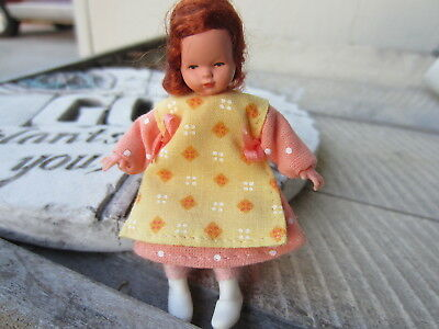 Vintage DOLLHOUSE Miniature DOLL Poseable GIRL Red Hair Smocked Dress