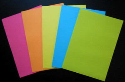 FLUORO COLOURED PAPER A5 x 40  - 5 COLOURS - PERFECT FOR CARD INSERTS
