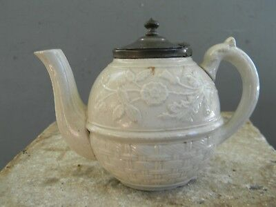SMALL ANTIQUE ENGLISH SALT GLAZE TEAPOT with HINGED PEWTER LID