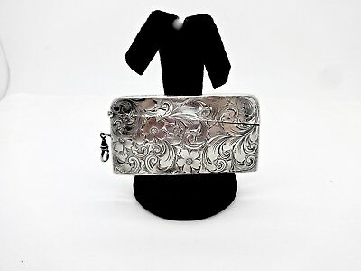 Art Nouveau Webster Co. Floral Engraved Sterling Silver Chatelaine Card Case