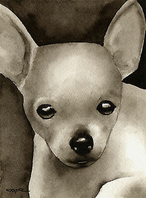 Chihuahua Puppy Art Print Sepia Watercolor Painting by Artist DJR