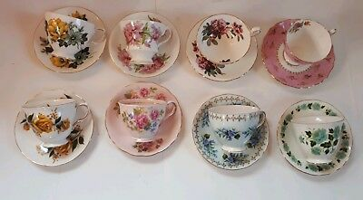 Large Lot Of 8 England Tea Cups And Saucers Yellow Pink Blue Roses Flowers