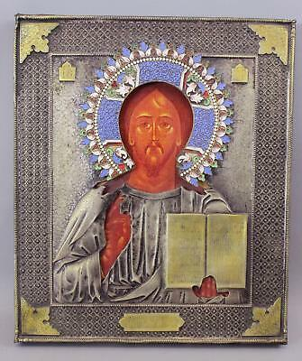 19thC Antique Hallmarked Russian Silver & Enamel Icon Painting, Jesus & Bible