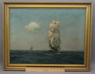 Antique Signed American Maritime Seascape Clipper Ship O/C Oil Painting, NR