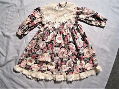 Vtg 80s Toddler Dress Sz 2, Novelty Print, Antique Cups+Saucers w/Lace Trims