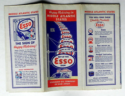 1936 Standard Oil of New Jersey ESSO Gas Station Mid-Atlantic Road Map 98% MINT!