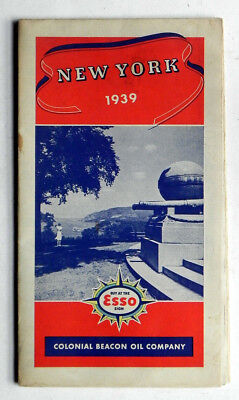 1939 Colonial Beacon Oil Co ESSO Gas Station New York Road Map MINT!