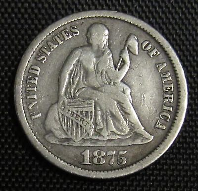 1875 CC Seated Liberty Dime VF