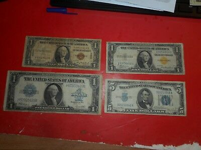 dollarS bill HAWAII,NORTH AFRICA,SILVER CERTIFICATE LOT OF 4