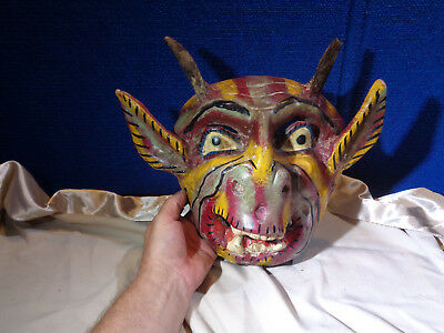 Primitive Antique Hand Carved Paint Decorated Ceremonial Tribal *HORNED MASK*