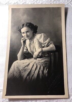Real Photo Postcard RPPC PC Woman With Hand On Face Heart bracelet H-26