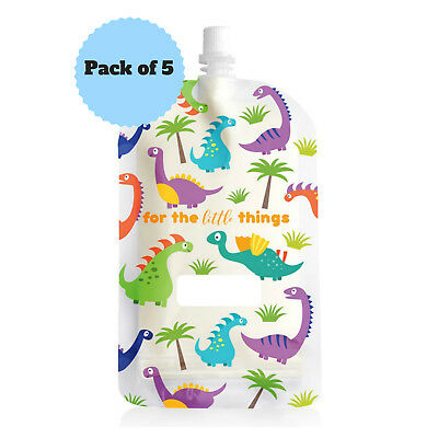 NEW Sinchies 200ml Dinosaur Reusable Food Pouches Top Spout BPA Free Pack of 5