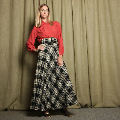 vtg 50s black + white PLAID wool YOUNG TIMERS high waist belted full maxi skirt