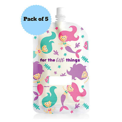 NEW Sinchies 200ml Mermaid Reusable Food Pouches Top Spout BPA Free Pack of 5
