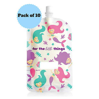NEW Sinchies 200ml Mermaid Reusable Food Pouches Top Spout BPA Free Pack of 10