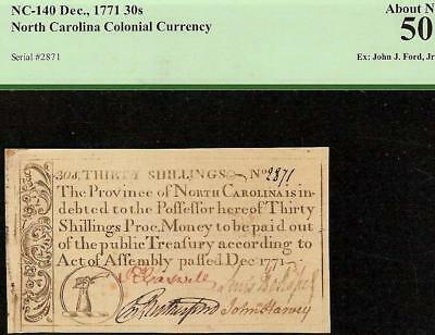 1771 North Carolina Falchion Sword Note Colonial Currency Note Nc-140 Pcgs 50