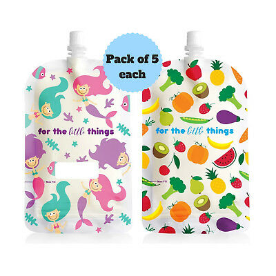 Sinchies 200ml Mermaid & Fruit Reusable Food Pouches Top Spout Pack of 10