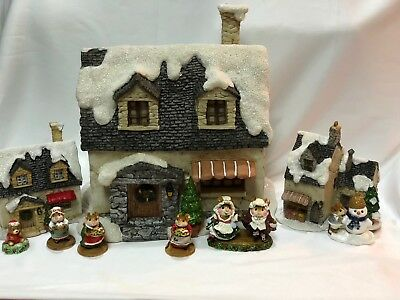 Snowy House, Cottage and Farm Market for Wee Forest Folk WFF not Included