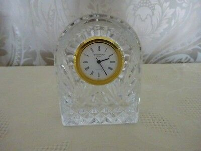 Vintage retro Waterford Lead Crystal Cut Glass Mantle Clock 8.5cm Tall