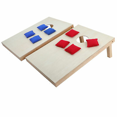 Unfinished 3 x 2' Wooden Cornhole Bean Bag Toss Game Set Foldable W/ Carry Case