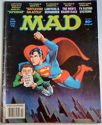 Mad Magazine No. 208 Dated July 1979. Us Edition. Good+. Superman Spoof.
