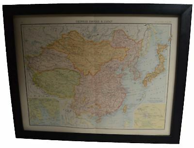 Framed Map Chinese Empire & Japan 1890's