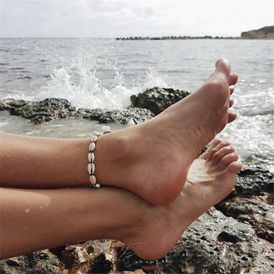 Ankle Anklet Bracelet Natural Cowrie Sea Shell Beach Wax String Handcraft Lc