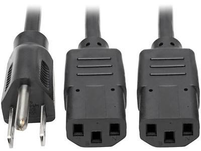 Tripp Lite Dual IEC Power Cord Splitter Cable 5-15P to 2x IEC-320 C13 18in (P006