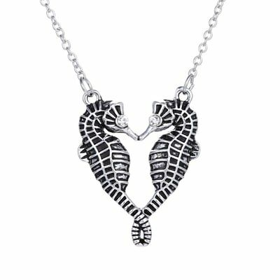 Vintage Silver Kiss Sea Horse Crystal Pendant Necklace Chain Unisex Jewellery